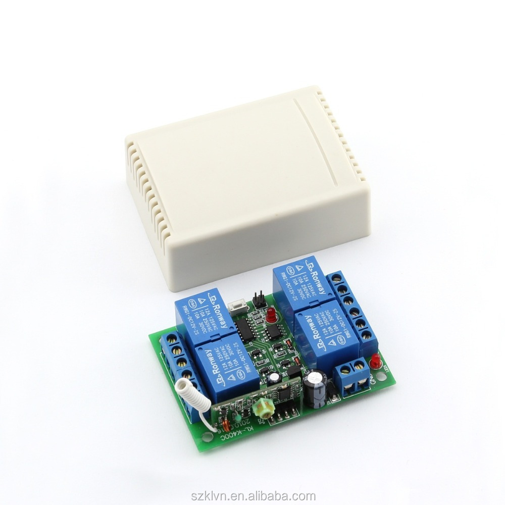 DC24V learning code 433mhz rf 4-ch wireless relay switch KL-K400C