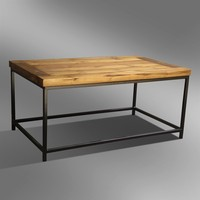 SOLID WOODEN TOP COFFEE TABLE ON METAL BASE