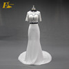 China Factory Half Sleeve Appliques Corset Two Piece Skirt And Top Wedding Dress