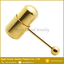Unique Design Titanium Gold Plated Barball Vibrating Tongue Piercing Ring