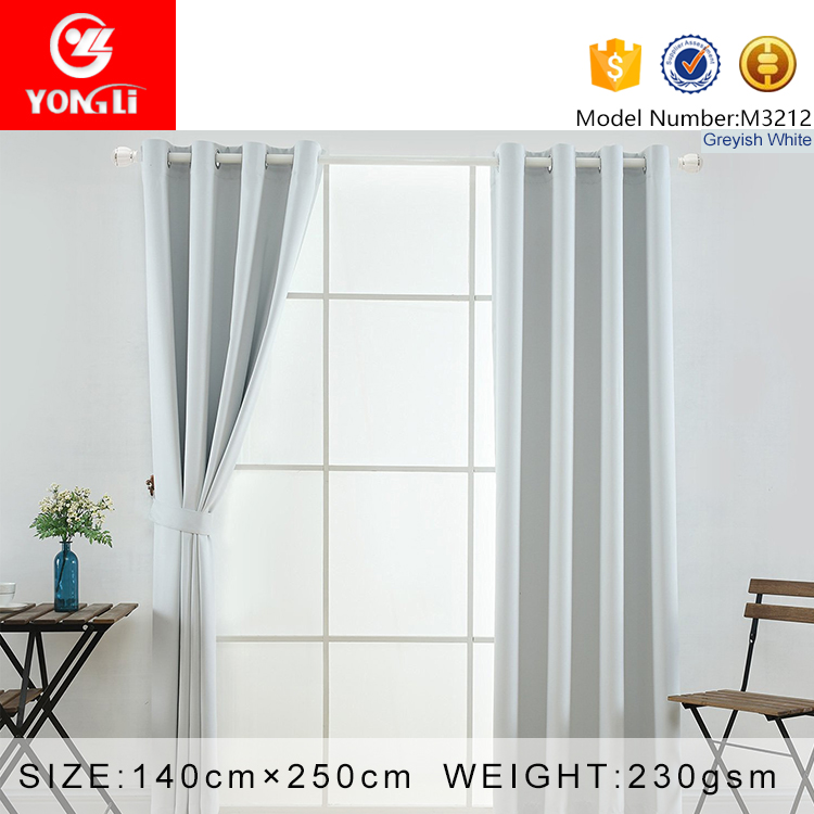 Cheap and quality new greyish white blackout fabric cafe window curtains from china factory