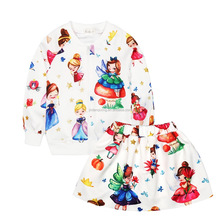 Fashion children clothes sets girls jacket top and skirt clothing suits cute cartoon pattern