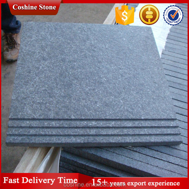 Flamed surface zimbabwe black grey G684 granite tiles with antislip