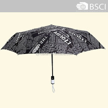 special design newspaper print auto open and close 3 fold umbrella pocket umberlla