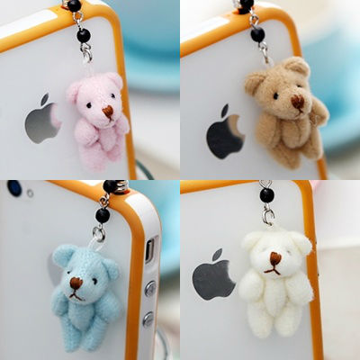 New Small Teddy Bear Anti Dust Ear Cap For Smart Phone