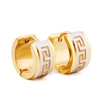 Classic Stud Earrings 316L Stainless Steel Small Circle Gold Stud Earrings For Unisex Great Wall Pattern Gold Black Earrings