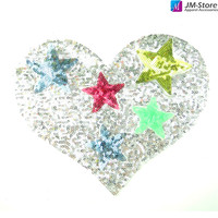 Wholesale Custom Iron Silver Heart Sequin Patches with Different Color Star Sequin Appliques
