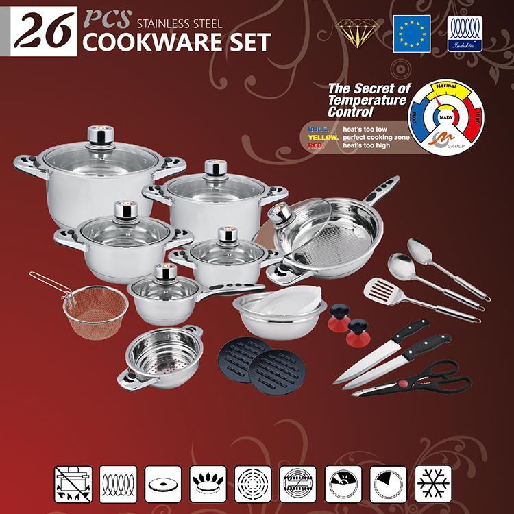 26PCS Newest prestige same quality Fissler Solea Stainless Steel Cookware