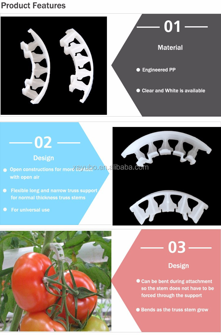 China Factory Supplier Cheap Durable Greenhouse Plants Tomato Truss Support Grafting Clips For Vegetables Grow