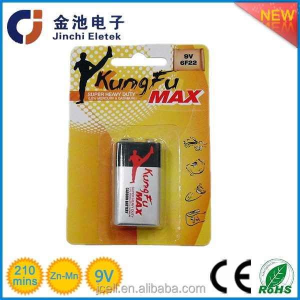 Factory price zinc carbon Super heavy duty 9 volt 6f22 battery alkaline battery 9v