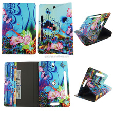 Lotus Butterfly HD Print Design Universal 360 Rotary PU Leather Folio Stand Shockproof Flip Tablet Case