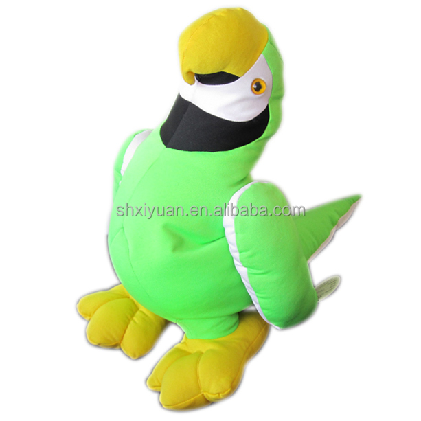 Novelty stuffed green parrot toy
