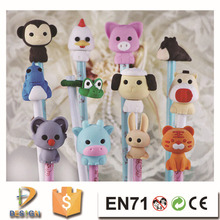 2015 hot sale cartoon animal shaped penil topper eraser