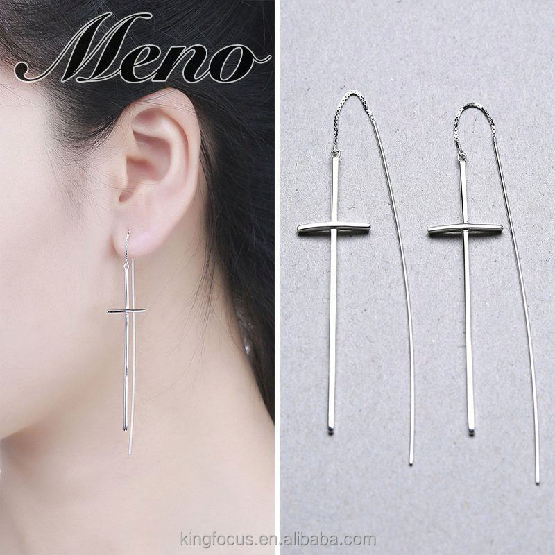 Meno S925 silver cross pure hoop Korean style fashion all-match stud