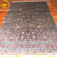 High quality 6x9 Hand knotted antique exported soft handmade axminster red silk carpet