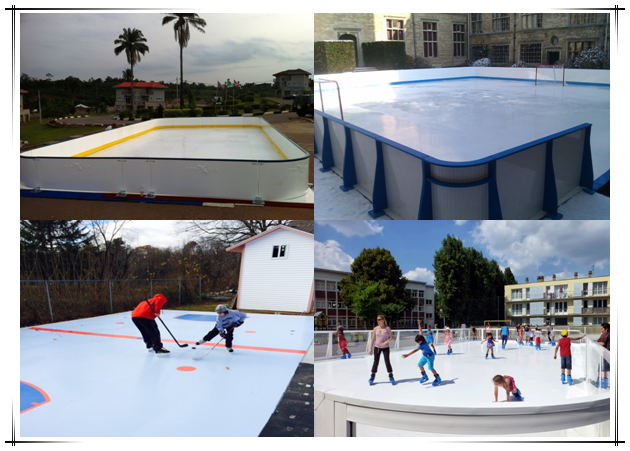 Self lubricating HDPE portable ice skating rinks plastic fence boards ice rink barrier