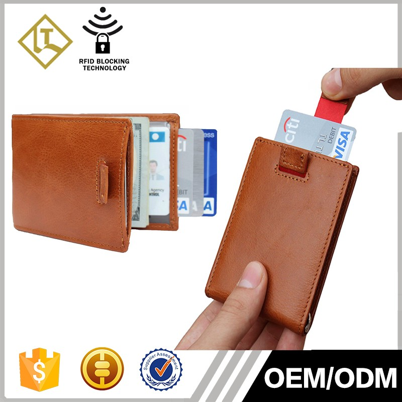 OEM & ODM Genuine leather credit card holder RFID blocking wallet bifold custom ultra thin men's money clip slim wallet for men