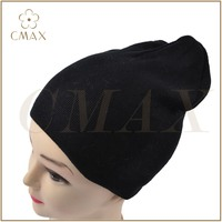 black plain knitting double layer classic lady fashion winter acrylic/wool knit hat