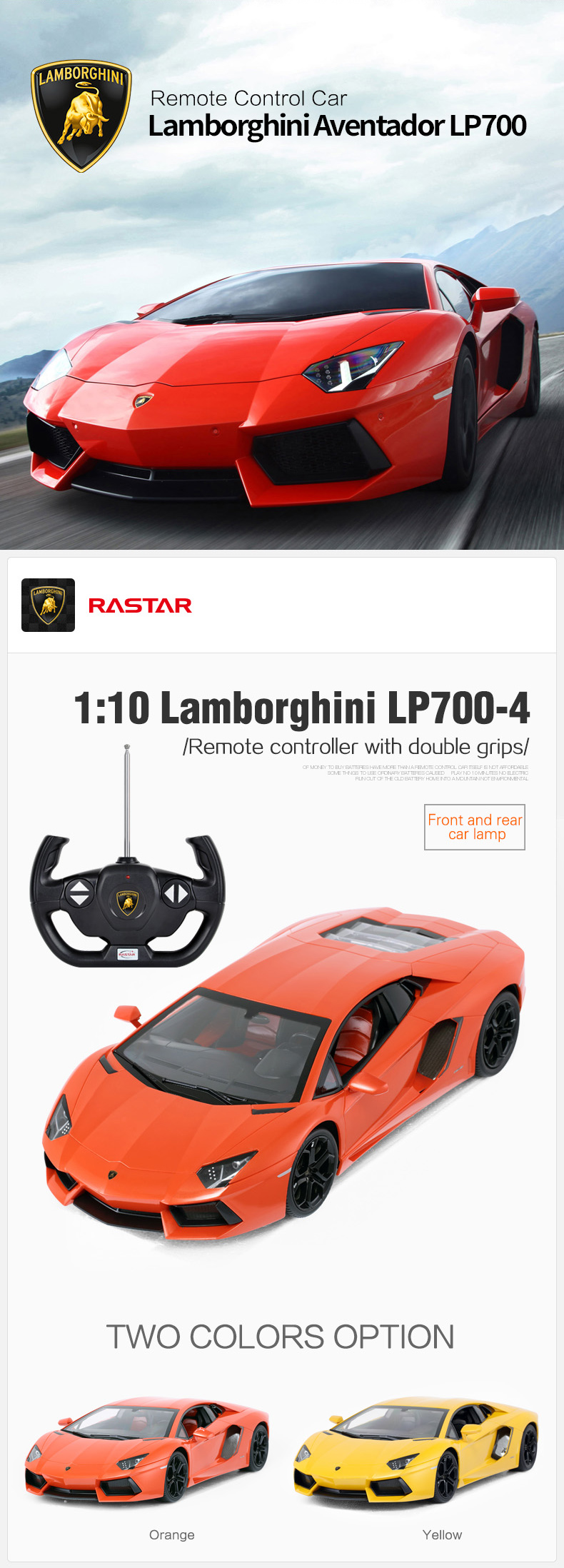 Lamborghini Aventador LP700 license Rastar factory price electric remote control battery car toy