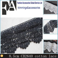 Latest Garments Accessories Manufacturer in China 8cm Cotton Embroidered Black Lace
