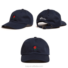 Wholesale new styles rose embroidery unstructured dad hats 6 panel dad caps and hats