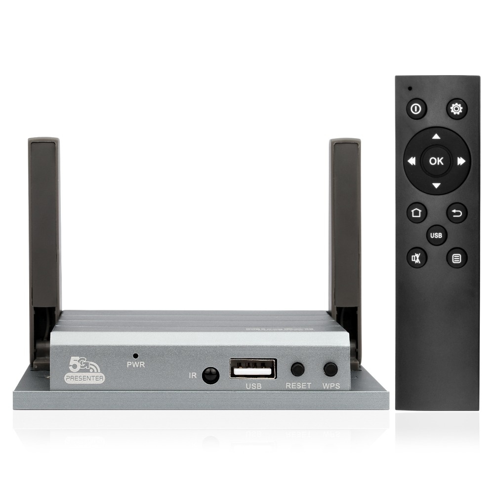 5.8G Mirabox Presenter HDMI+VGA wireless interactive presentation gateway with IR remote control for iOS and Win10/8