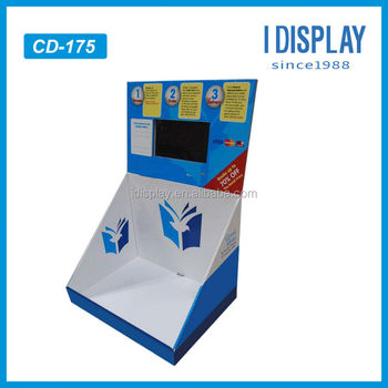 wire cardboard counter display stand with lcd video display