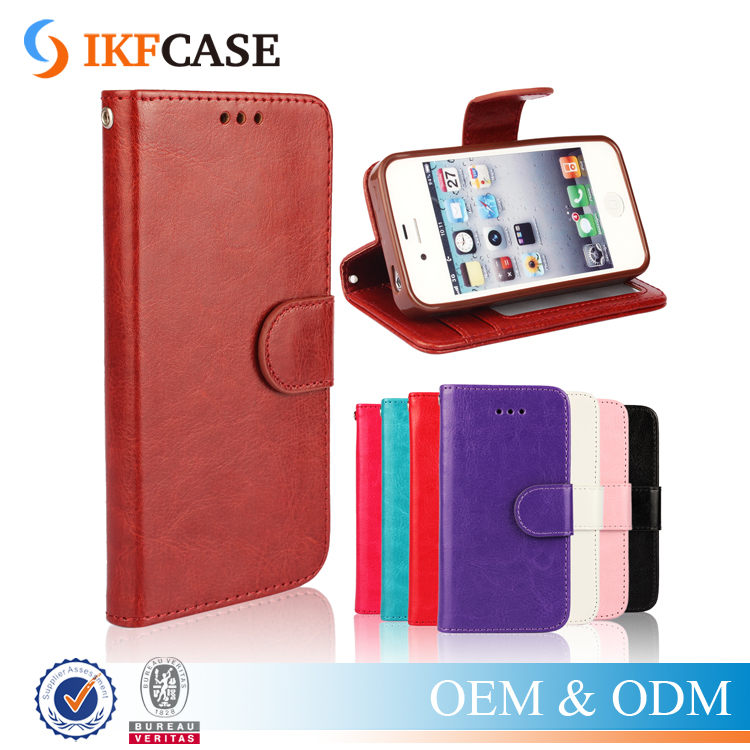For iPhone 4 4s leather flip case,flip crazy horse leather case for iPhone 4 4s