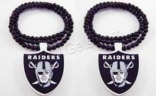 NFL football team nacklace Shield Black Wood Necklace RAIDERS