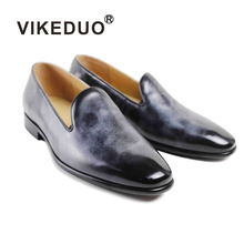 calfskin leather purple grey casual slip on men loafer shoes