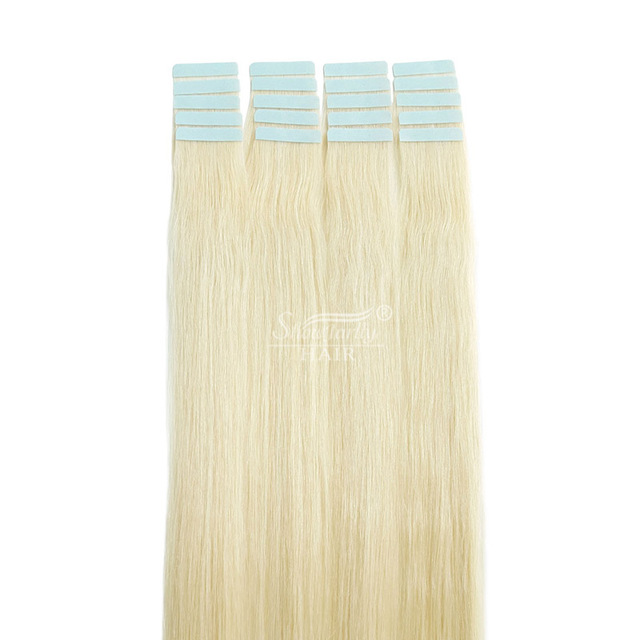 Slavic hair double drawn #60 tape sticker hair extensions silky soft seamless pu straight remy tape in human hair extensions