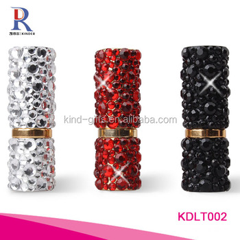 Assorted color bling bling jewelry embellished clear decent quality lipstick tube