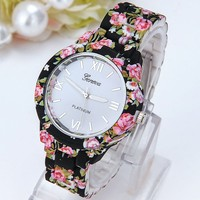 Geneva Flower Watch Ladies and Girls Watches Women Quartz Wristwatch
