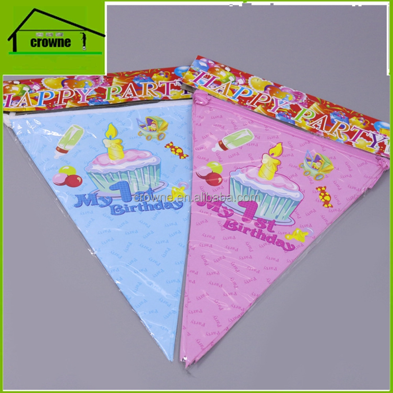 custom happy birthday banner flags printed services for 1st birthday party decoration pennant flags