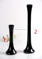 Tall thin black double glass vase
