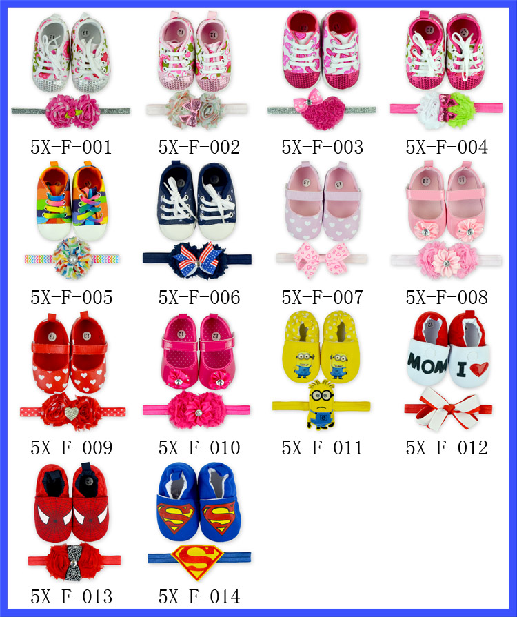Cheap Cute Baby Crib Shoes With Match Headband Newborn Baby Soft Sole Shoes Wholesale Shoes Baby Boys Girls Moccasins In China