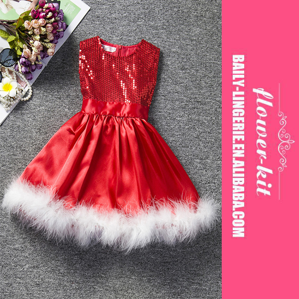 Girl Sequin Christmas Dress Hot Popular Kids Red Christmas Party Dress