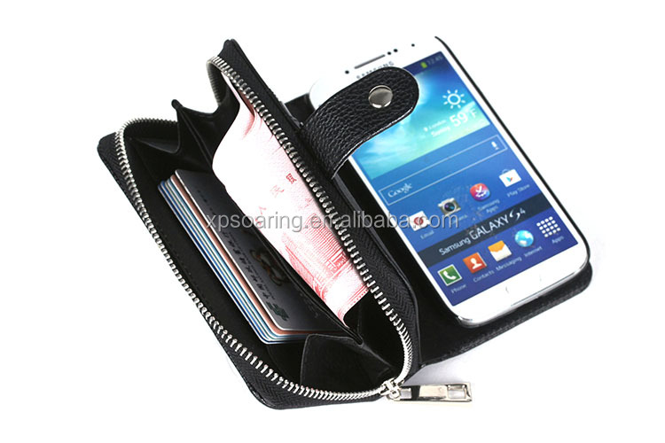 2 in 1 Hard Back Cover Zipper Wallet Leather Case for Samsung Galaxy S4