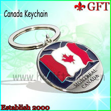 Hot selling and Fashion on 2013!Shinny nickel custom canada souvenir keychain for promotion