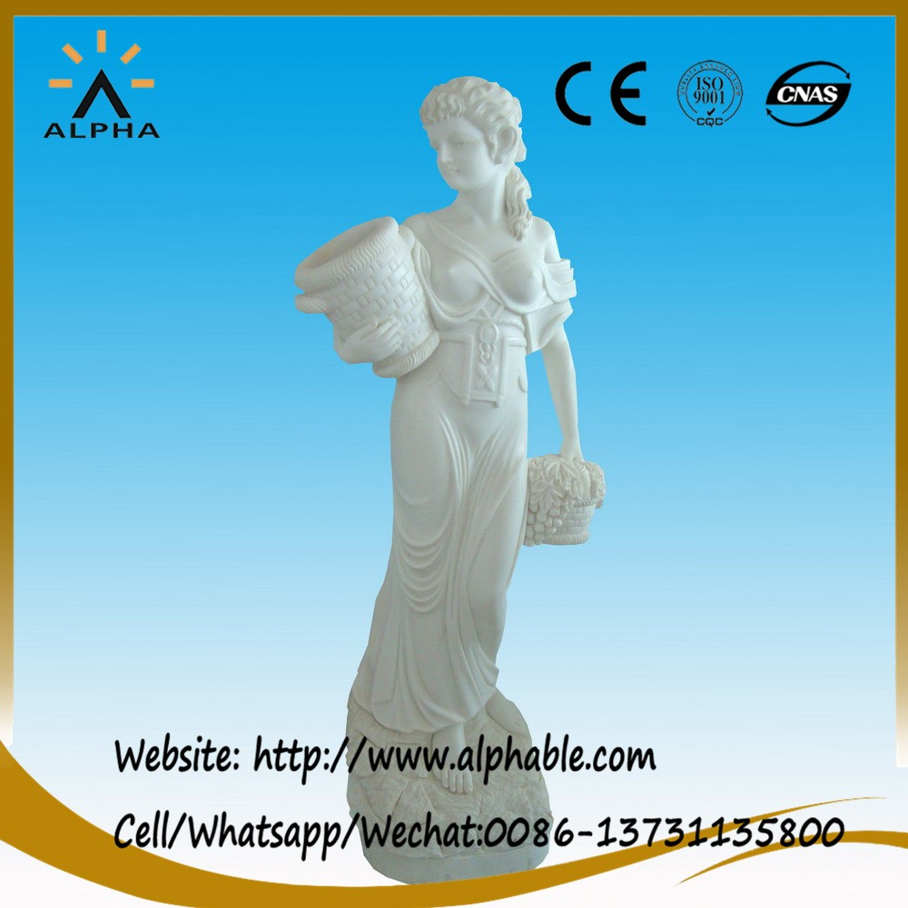 White marble statue of lady with vase statue