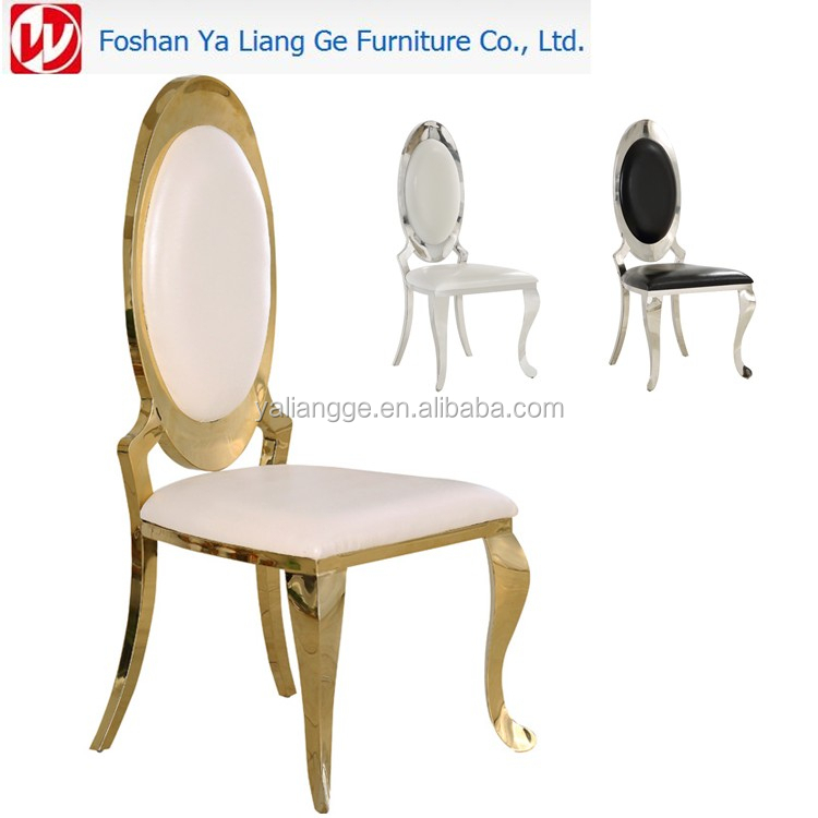 Wholesale mirror stainless steel gold synthetic leather banquet chair