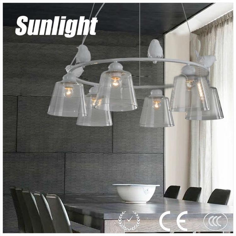 modern Vintage country style resin bird glass industria pendant light/lamp/lighting china supplier for hotel