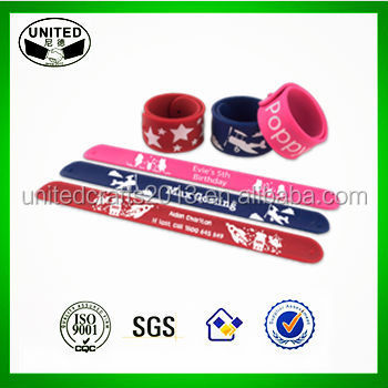 PVC OEM silicone slap wrist band fun