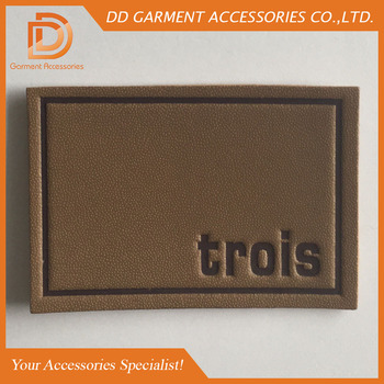 customized logo embossed leather patch