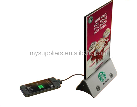 2016 NEW version menu power bank station for restaurant powerbank