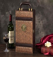 supply good quality red wine packaging box,wine box leather,vintage leather wine box