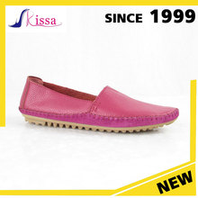 Wholesale italy Design Peach Color Leather Women Loafer cheap Shoes