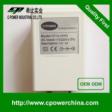 High efficiency 12VDC 1A 2A 12V DC 1A 2A waterproof power supply