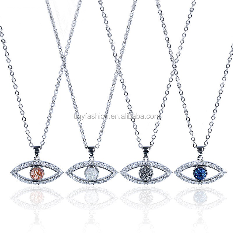Wholesale 925 Sterling Silver Necklace Evil Eye Shape Natural Stone Agate Pendant Necklace Women Druzy Raw Stone Geode Necklace