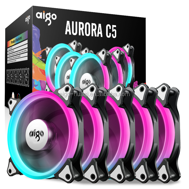 aigo-darkFlash C5 120mm Adjustable Color Case Radiator LED Fan 12cm PC Cooling Fan RGB Low Noise Computer fans